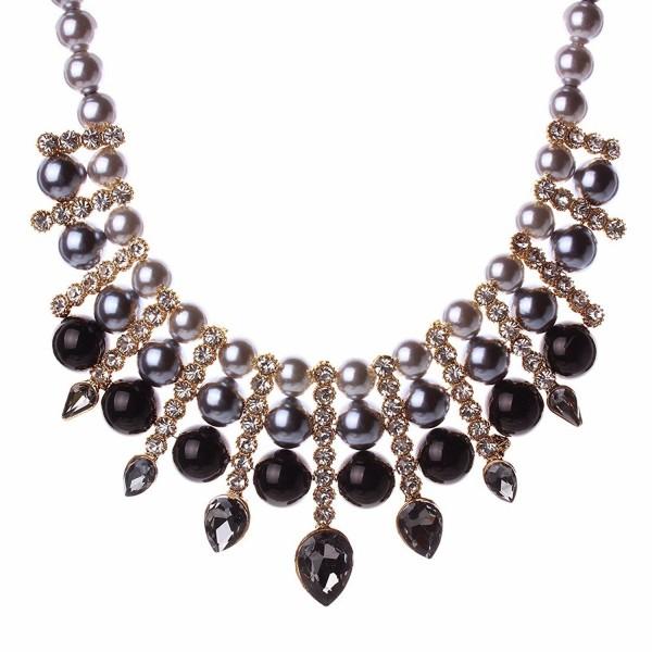 Women Artificial Pearl Chunky Collar Resin Teardrop Rhinestone Chain Necklace - Black - C1125S165F1