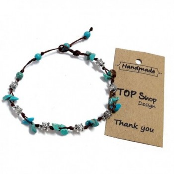 Turtle Steel Stone Blue Turquoise Bead Anklet or Bracelet 26 cm.Handmade for Women Teens and Girls - CX12JQ559CP