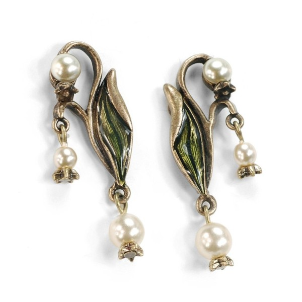 Vintage Lily of the Valley Flower Bridal Wedding Anniversary Pearl Earrings - CR11IN0J4PN