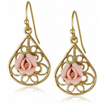 1928 Jewelry Gold-Tone and Pink Porcelain Rose Drop Earrings - CG11OVEZ0BR