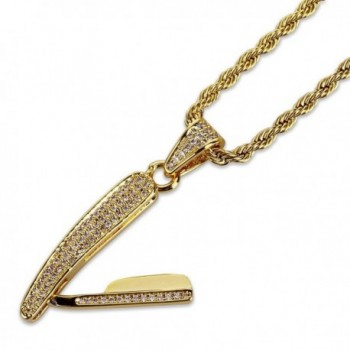JINAO 18K Gold Plated ICED OUT Barber Scissors Shear Razor Blade Pendant Necklace - CV187Y3KI8L