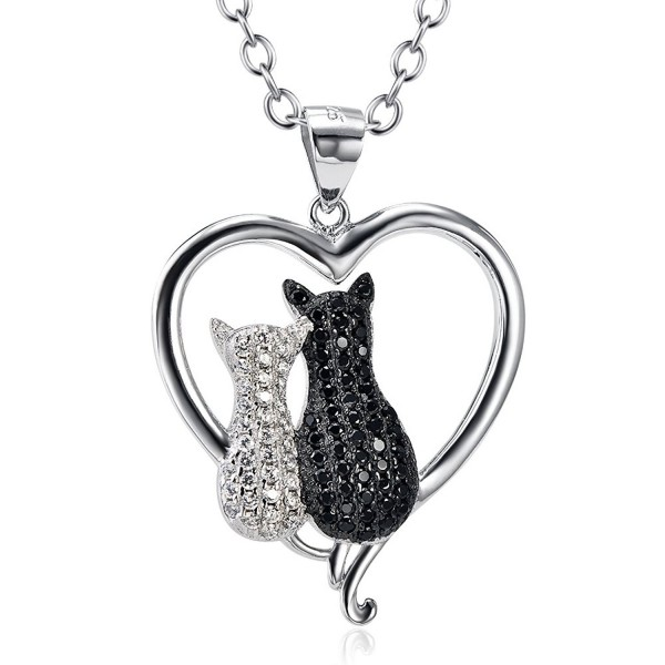 Two-Tone 925 Sterling Silver Lovely Couple Cat Pendant Animal Charms Necklace- Rolo Chain - C012BLAI3QV