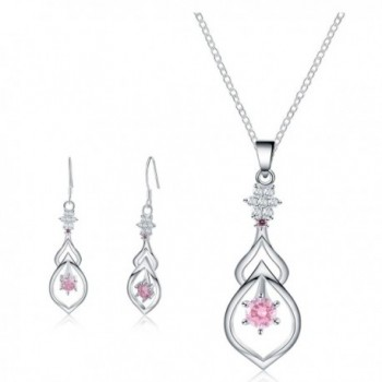 Jewelry Set - Pink Teardrop Necklace Pendant Earrings for Women Mom Teen Girls - Fashion Gift 18K Gold Plated - CZ1827NTKQ2