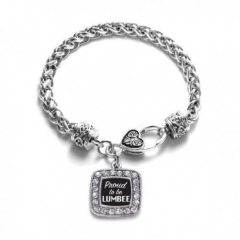 Proud To Be Lumbee Classic Braided Classic Silver Plated Square Crystal Charm Bracelet - CW11XMU4CBZ