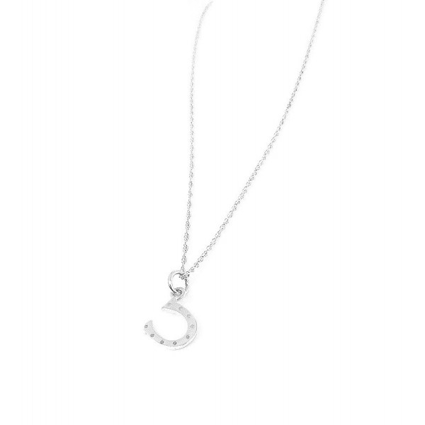 Tiny Horse Shoe Sterling Silver Charm Necklace Lucky Good Luck Jewelry - CW116VVHZGB