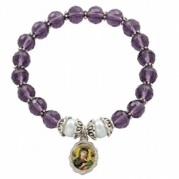 Our Lady of Perpetual Help Medal Bracelet with 7.5mm Amethyst Color Glass Crystal Beads - CE11GCPXO93