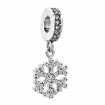 LovelyJewelry Snowflake Charms Synthetic Crystal Dangle Spacer Bead For Bracelets - CU12O14L37F