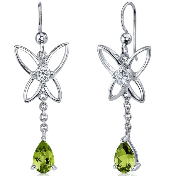 Peridot Dangle Earrings Sterling Silver Rhodium Nickel Finish Butterfly Design 1.50 Carats - CX116NSE2VX