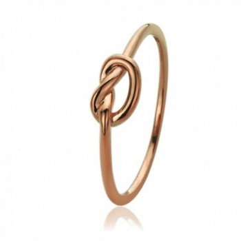 14K Rose Gold Wedding Ring Plain Gold Celtic Love Knot Promise Ring - CF12DVAMP45