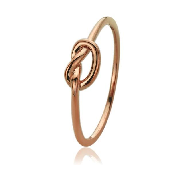 14K Rose Gold Wedding Ring Plain Gold Celtic Love Knot Promise Ring - CF12DVAMP45