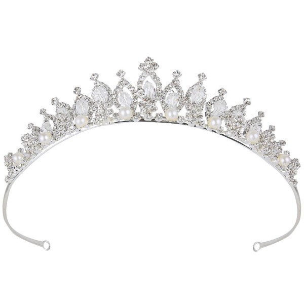 BriLove Women's Crystal Victorian Style Simulated Pearl Bling Wedding Bridal Crown Hair Tiara Silver-Tone - C911AA8LFC9