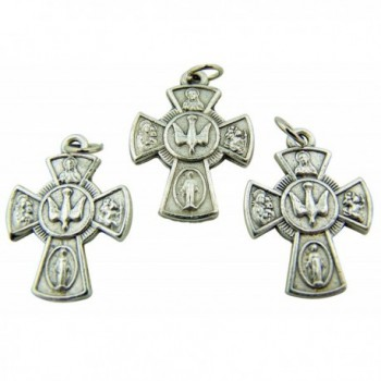 Silver Tone Rosary Part 4-Way Cross with Holy Dove Center Pendant Charm- 7/8-inch - CG11DUTL4RD