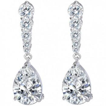 EleQueen Women's Prong Cubic Zirconia Teardrop Bridal Dangle Earrings Clear - Silver-tone - C4124PRZPLJ