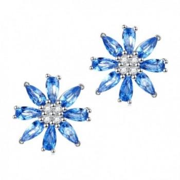 Valentine's Day Jewelry 925 Sterling Silver Blue Cubic Zirconia Flower Cz Stud Earrings for Women Girls - CX186242IAX