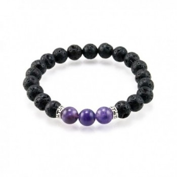 Oil Diffuser Lava Rock Beaded Stretch Bracelet with Purple Amethyst Gemstone Beads - CR186HXK2IL