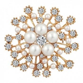ShinyJewelry Flower Artificial Pearls Brooch Pins For Women - Yellow - CI187HY0ZIG