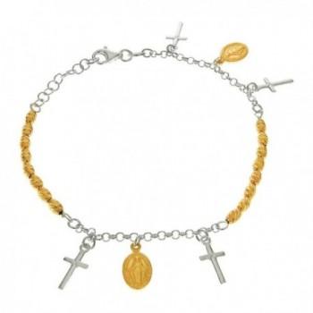 Catholic Virgin Mary Two Tone Gold-Plated Diamond-cut Sterling Silver Bracelet - C2118WAEJMB