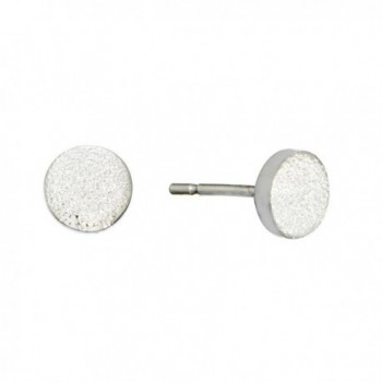 Silverly Women's .925 Sterling Silver Small Round Geometric Diamond Dust Texture Stud Earrings - C412MXKU6UH