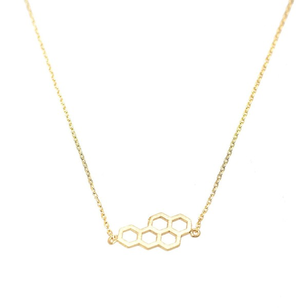 Spinningdaisy Handcrafted Brushed Metal Beehive Necklace - CP11ZQTPY49