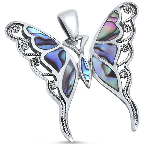 Solid Sterling Silver Abalone Shell Inlay Buttterfly .925 Sterling Silver Statement Pendant - CP126GB3QDB