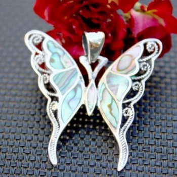 Sterling Abalone Buttterfly Statement Pendant