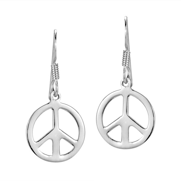 Peace Sign 'No War' Round 13 mm .925 Sterling Silver Dangle Earrings - C511NR94MX9