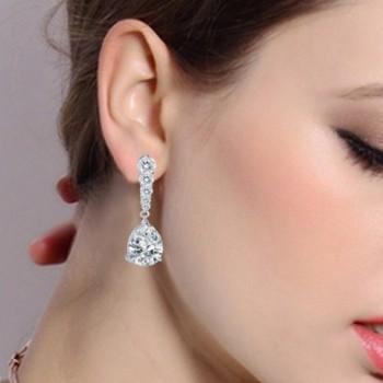 EleQueen Zirconia Teardrop Earrings Silver tone