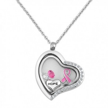 LuckyJewelry Breast Cancer Pink Ribbon Heart Floating Necklace Charm Living Memory Lockets Pendant - CI12IQH6IYH