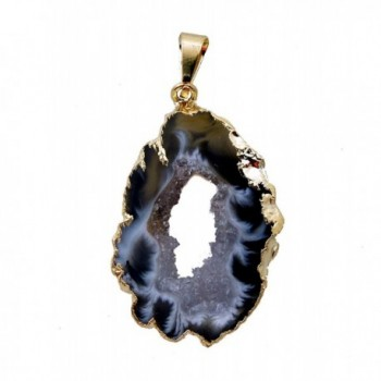 Rock Paradise Beautiful Natural Agate Slice Druzy Pendant with Gold Plated Edge AM8B7-03 - CM11QEAFUG5