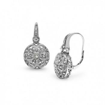 Sterling Silver Round Filigree Diamond Accent Leverback Drop Earrings- IJ-I3 - CB17Z4OSOE3