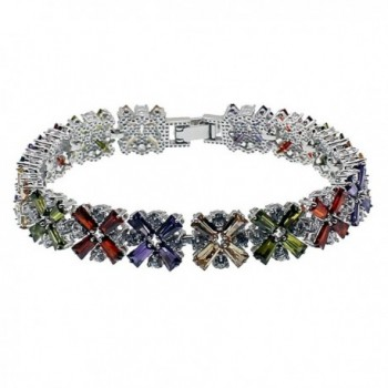 "HERMOSA Fashion Bracelet Garnet Emerald Amethyst Morganite Peridot Topaz Plated Silver Bracelets 7"" - C312N4XZ1WO"