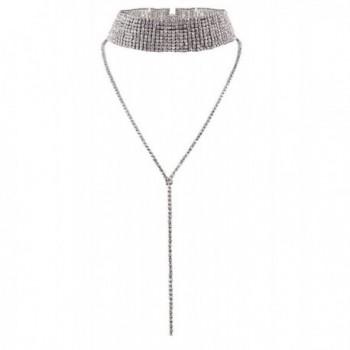 DELEY Fashion Women Ladies Multi-rows Rhinestone Choker Sweater Long Pendant Necklace Jewelry - Silver - CK12O6IEGMO