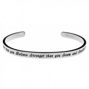 You Are Braver Than You Believe- Stronger Than You Seem Premium Stainless Steel Cuff Bangle Bracelet - CE127A9QSEL