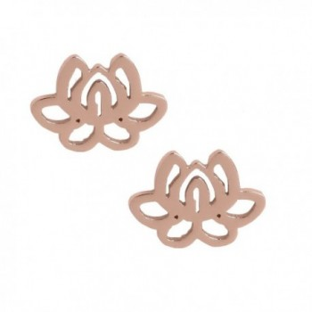 Women Lotus Flower Earrings.Rose Gold Tone Stainless Steel Gift Box Purity Sign Floral Stud Jewelry - CL12MMI653P