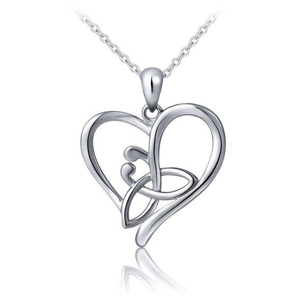S925 Sterling Silver Good Luck Irish Celtic Knot Triangle Vintage Love Heart Pendant Necklace- 18 inches - CO12OCO93F2