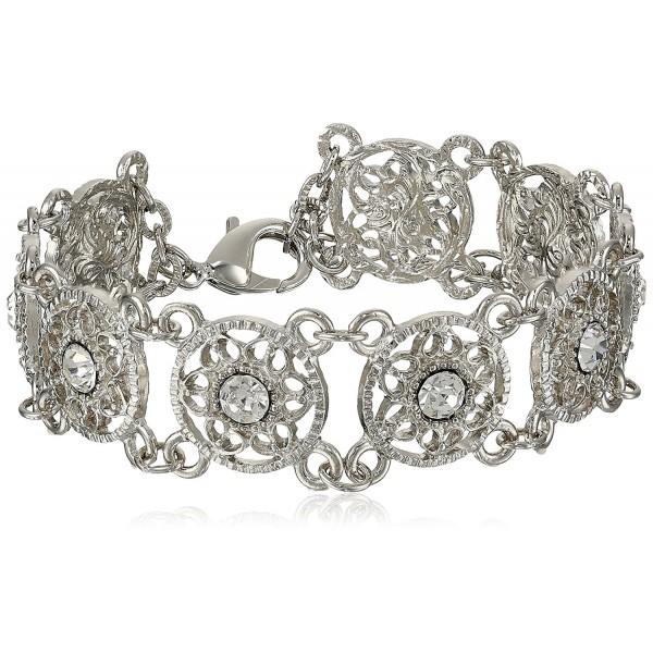 """1928 Jewelry """"Bridal Crystal"""" Silver-Tone Crystal Link Bracelet- 7"""" - CH11F0EKYN1"""