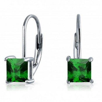 Bling Jewelry 925 Silver Princess Cut Simulated Emerald Drop Earrings - CJ12MGGTKPD