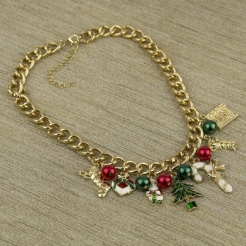 Christmas Stocking Santa Jingle Statement in Women's Chain Necklaces