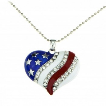 Patriotic Jewelry American Flag Red White Blue Heart Necklace Pendant Crystal Stars and Stripes - CU11IRO3VGX