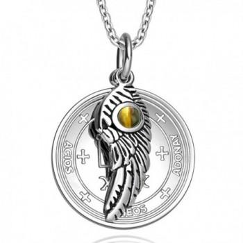 Archangel Raphael Sigil Amulet Magic Powers Angel Wing Charm Tiger Eye Pendant 18 Inch Necklace - C911UNTMFLR