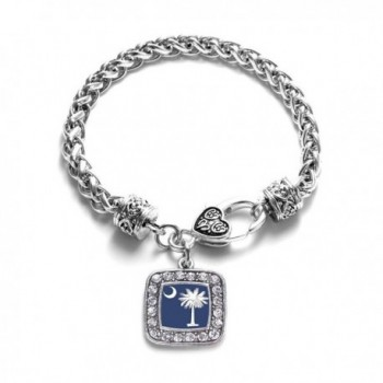 South Carolina Flag Classic Silver Plated Square Crystal Charm Bracelet - C811U7NAXXP