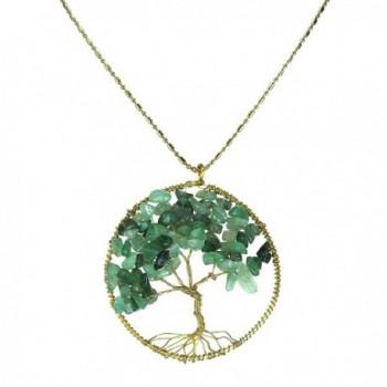 Green Quartz Stone Eternal Tree of Life Brass Beads Long Necklace - C711PJ317ON