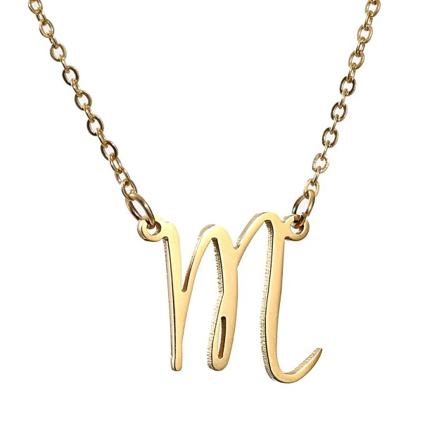 AOLO Initial Necklace 26 Letters from A-Z Stainless Steel Silver and Gold Color - CQ11VW4ZAZ9