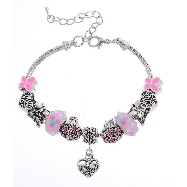 MJartoria Mom Heart Butterfly Flower Bouquet Adjustable Charm Bracelet Rhinestone Enamel Pink - C611WWEPJFP