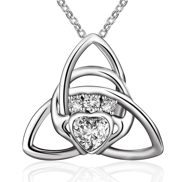 Sterling Silver Irish Celtic Knot Triangle Love Heart Claddagh Pendant Necklace-18'' - CV184T6USAN