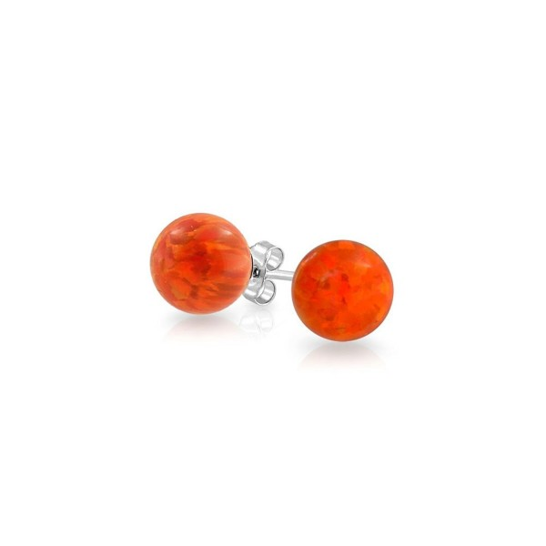 Bling Jewelry Simulated Mexican Fire Opal Stud earrings 925 Sterling Silver 6mm - CE11PKGJH1J