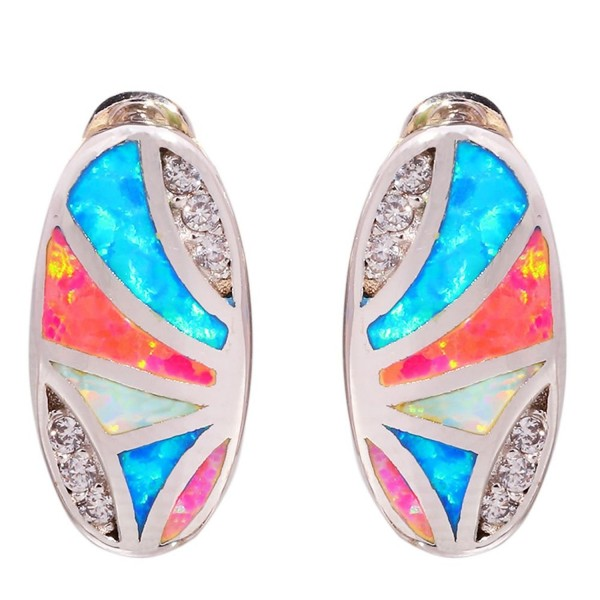 CiNily Rhodium Plated Blue Pink White Opal Zircon Women Jewelry Gemstone Stud Earrings 16mm - CM17YHC4CKG