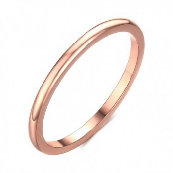 Stainless Steel Plain Band Ring for Women-1.5mm Width Rose Gold Size 6-8 - CZ184C5380O
