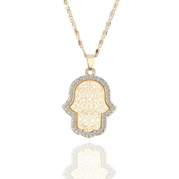 Necklace Pendant Crystal Dazzling Rhinestone - Gold Plated Hamsa Hand - C6188RTULUD