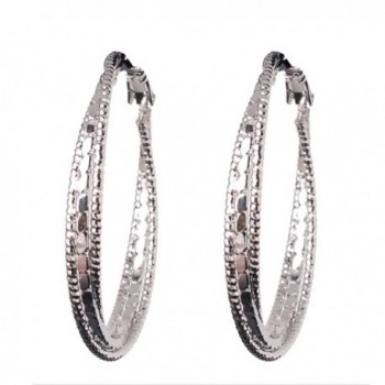 GULICX Silver Tone Charming Textured Round 3 Hoop Lady Party Awesome Hoop Earring - CB122505J7X
